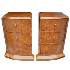 Original 1930s Art Deco Heavily Figured Walnut Bedside Nightstand Cabinets