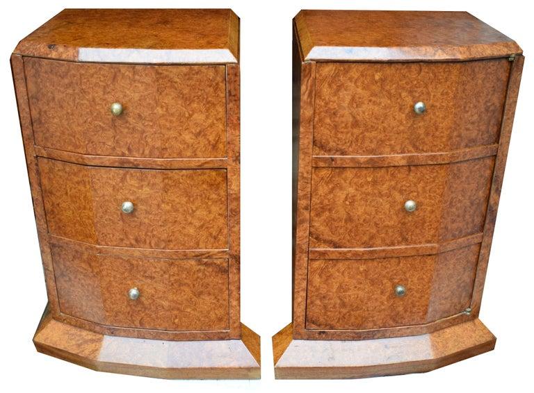 official photos 01e7d 9c653 Original 1930's Art Deco Heavily Figured Walnut Bedside Nightstand Cabinets