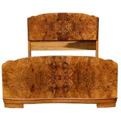 Original 1930s Art Deco Odeon Walnut Double Bed