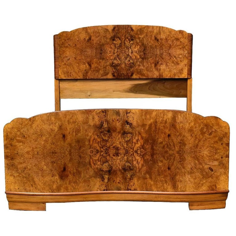 Original 1930s Art Deco Odeon Walnut Double Bed At 1stdibs