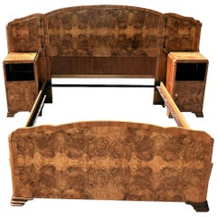 Original 1930s Art Deco Odeon Walnut Double Bed with Integral Cabinets