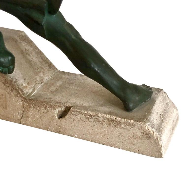 Original 1930s Art Déco Sculpture Spartiate Archer Warrior by Max Le Verrier For Sale 2