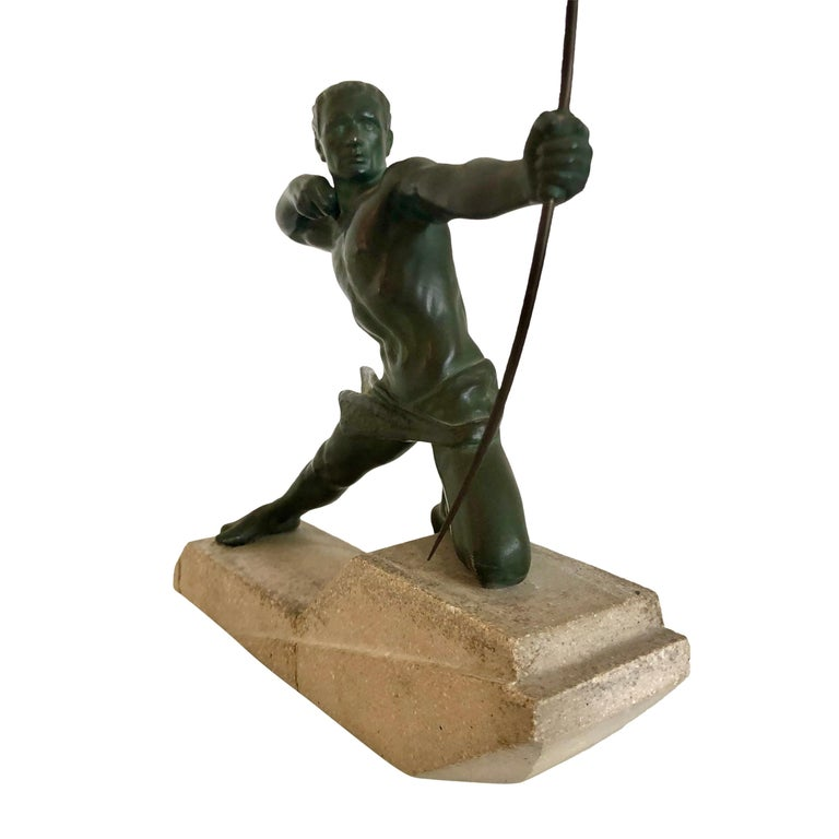 """""""Spartiate"""" Original """"Max Le Verrier"""" (1891-1973), signed in the stone Original Art Deco, France 1920-1930s  Sculpture made in """"Spelter"""" (white bronze) with original patina Stone socle (shows several signs of age and use, as chips and fixed"""
