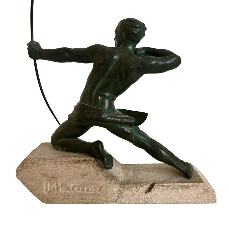 Art Deco Original 1930s Art Déco Sculpture Spartiate Archer Warrior by Max Le Verrier For Sale