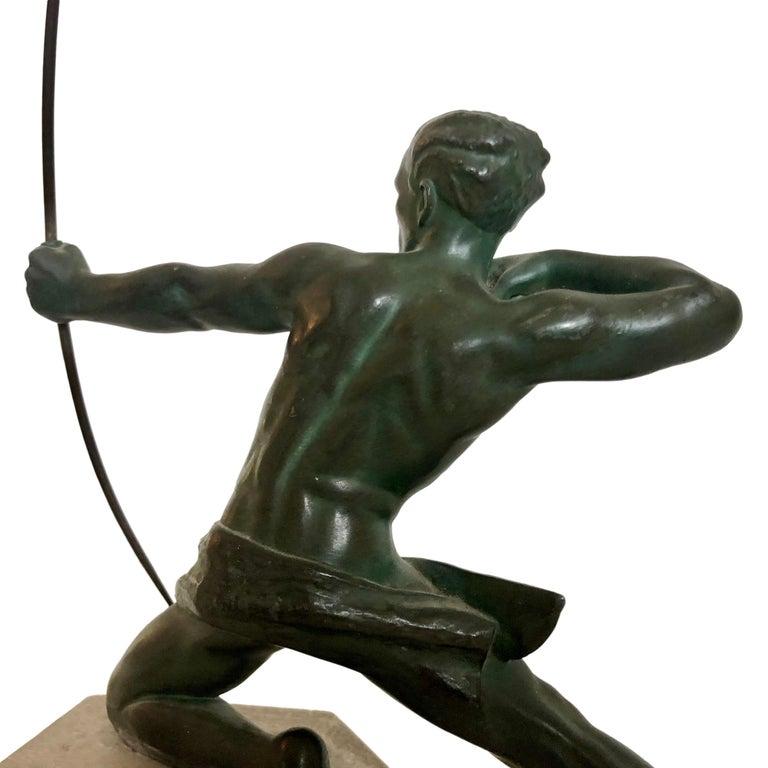 French Original 1930s Art Déco Sculpture Spartiate Archer Warrior by Max Le Verrier For Sale
