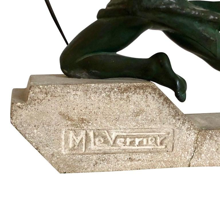 Patinated Original 1930s Art Déco Sculpture Spartiate Archer Warrior by Max Le Verrier For Sale