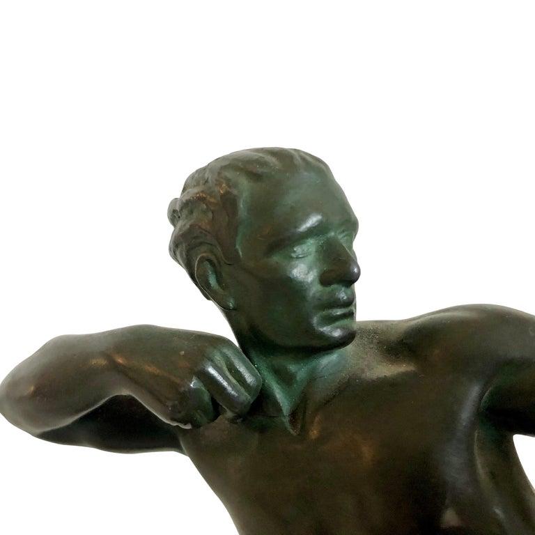 Original 1930s Art Déco Sculpture Spartiate Archer Warrior by Max Le Verrier In Fair Condition For Sale In Baden-Baden, DE