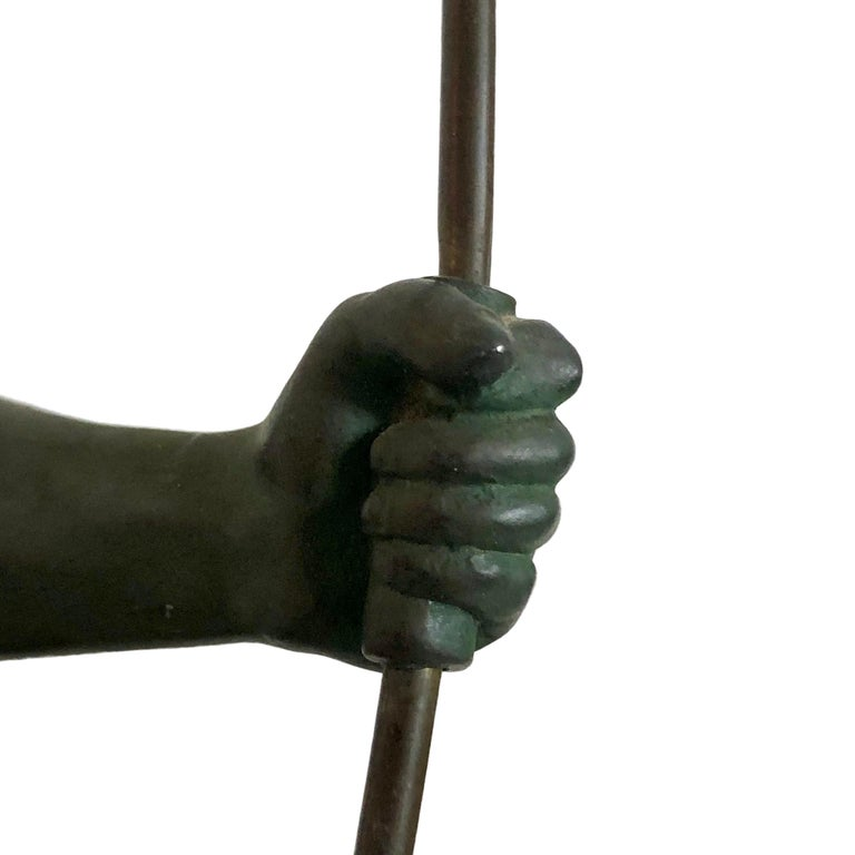 Spelter Original 1930s Art Déco Sculpture Spartiate Archer Warrior by Max Le Verrier For Sale