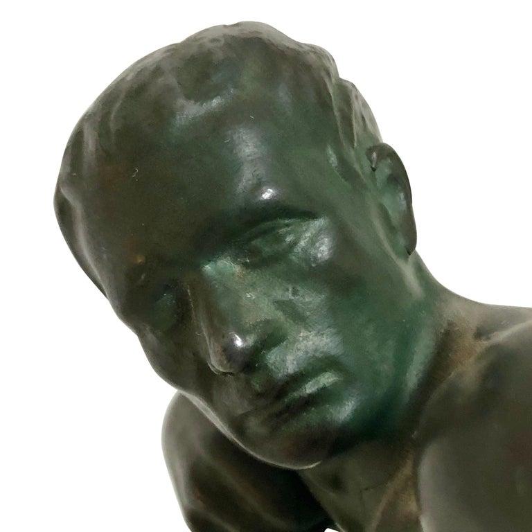 Original 1930s Art Déco Sculpture Spartiate Archer Warrior by Max Le Verrier For Sale 1