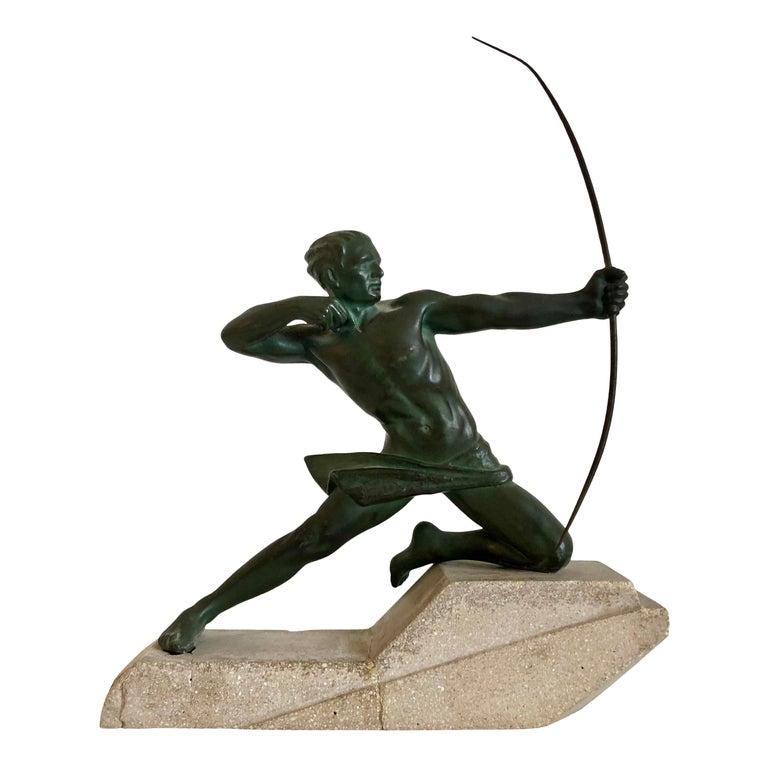 Original 1930s Art Déco Sculpture Spartiate Archer Warrior by Max Le Verrier For Sale