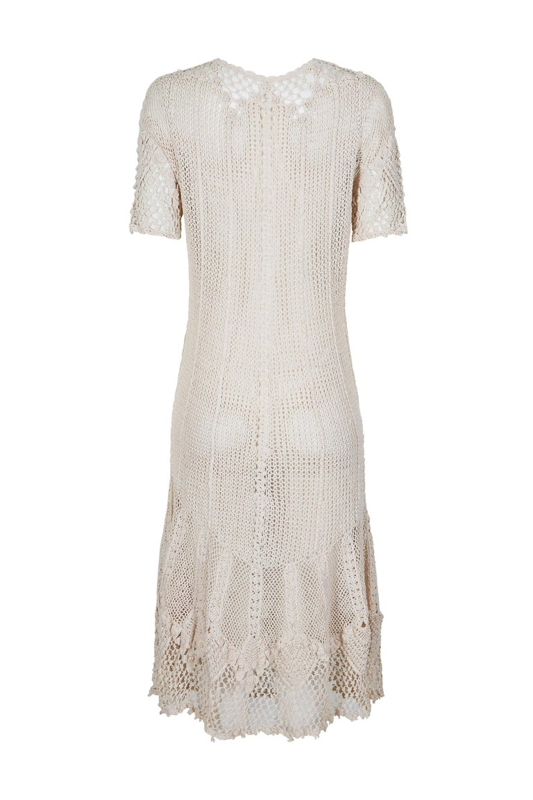 Beige Original 1930s Ivory Irish Hand Crochet Lace Dress With Floral Design  For Sale