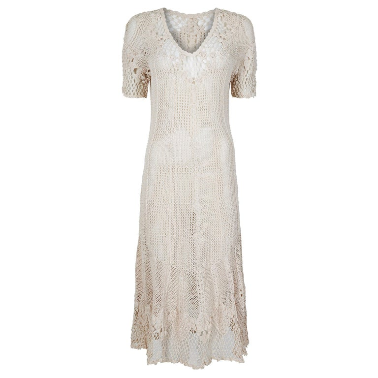 Original 1930s Ivory Irish Hand Crochet Lace Dress With Floral Design  For Sale