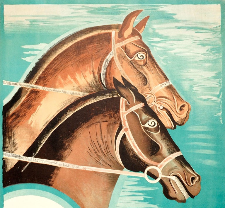 Original vintage sports poster issued by London Transport for the 1935 Epsom Horse Race - Epsom Spring Meeting April 20 21 and 22 Buses every 2 minutes from Morden Station to the Racecourse - featuring a stunning Art Deco image of two horses against