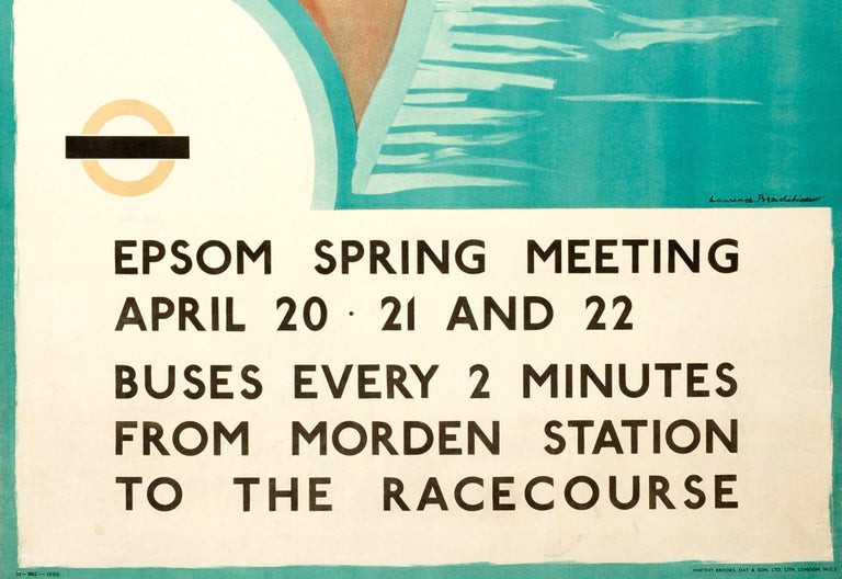 British Original 1935 Art Deco London Transport Horse Racing Poster Epsom Spring Meeting For Sale