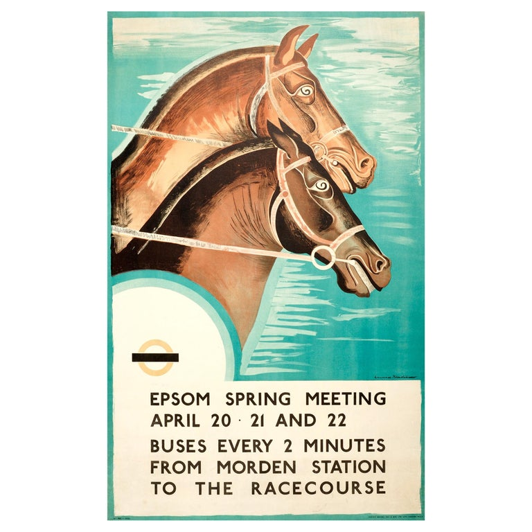 Original 1935 Art Deco London Transport Horse Racing Poster Epsom Spring Meeting For Sale