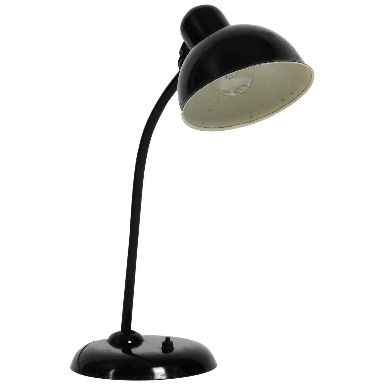 Original 1940s Black Kaiser Idell Metal Table Lamp Model 6551