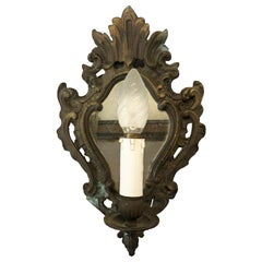 Original 1940s Italian Bronze Wall Lamp with Old Mirror