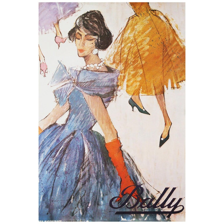 Original 1958 advertising poster for bally shoes designed by Pierre Augsburger. Rolled.  Measures: H 76 cm x L 51.5 cm.