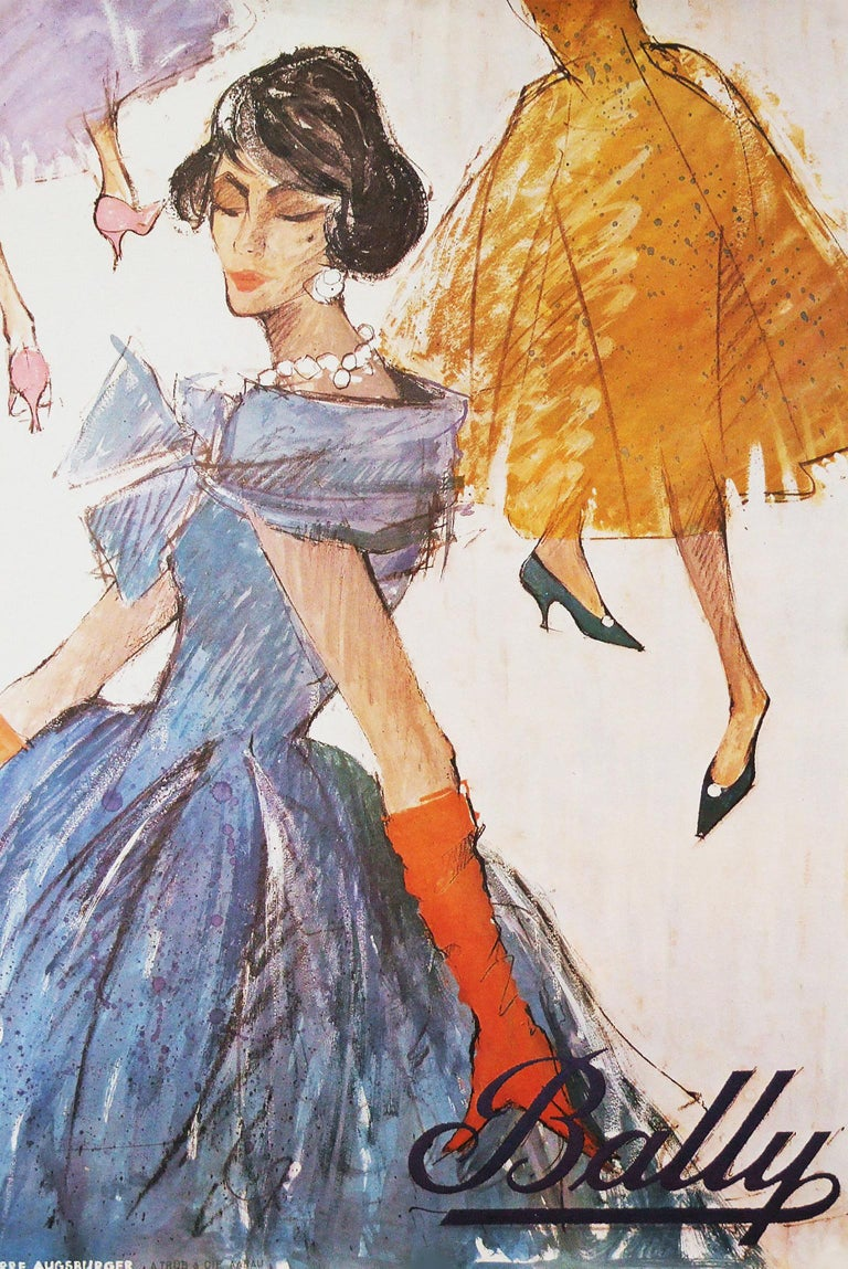 French Original 1950s Bally Shoes Advertising Poster Fashion For Sale