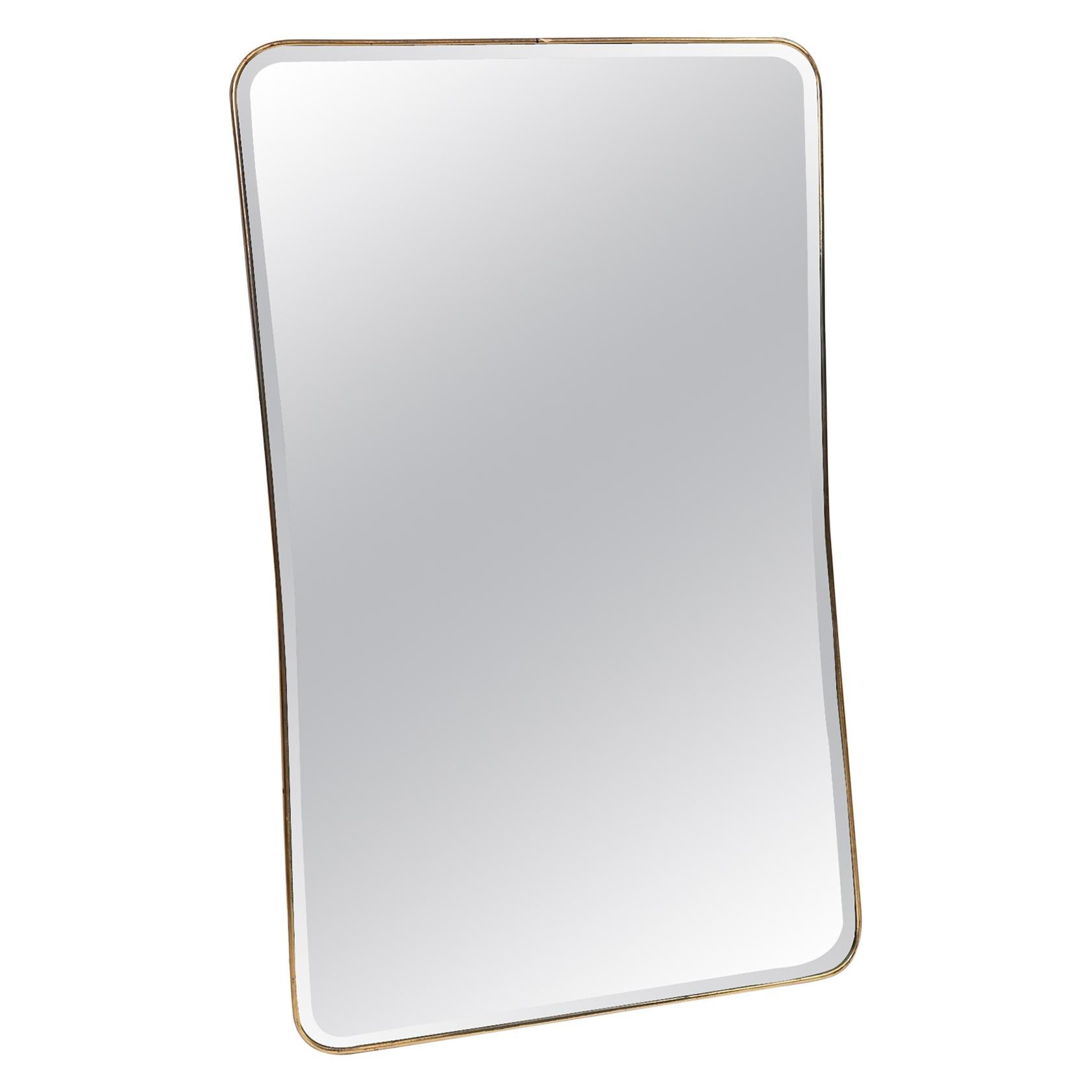 Original 1950s Bevelled Mirror with Brass Frame Ponti Style