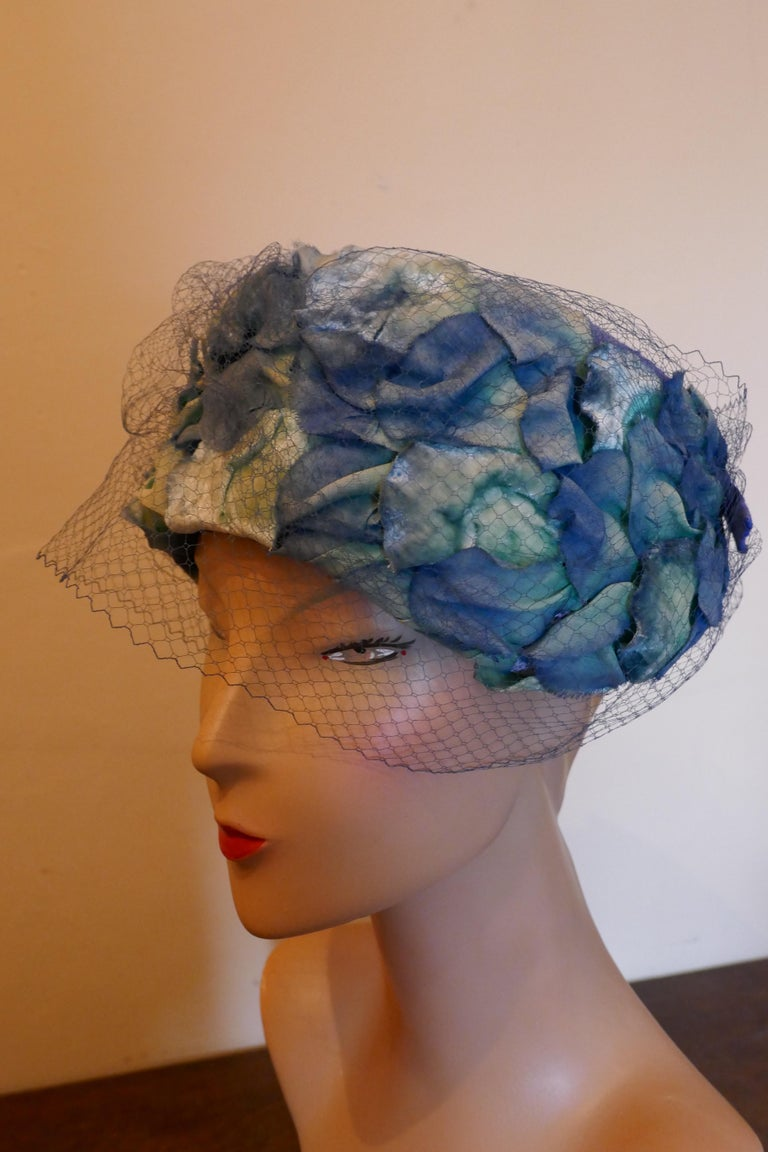 Original 1950s Blue Pill Box Hat, Decorated with Roses and Veil, by Connor  Stunning classic pill box hat, in linen decorated with rose petals, trimmed with a small veil and designed by Connor One for the Summer Garden Party The Hat is in good
