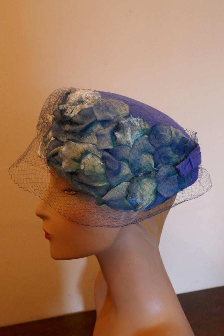 Gray Original 1950s Blue Pill Box Hat, Decorated with Roses and Veil, by Connor For Sale