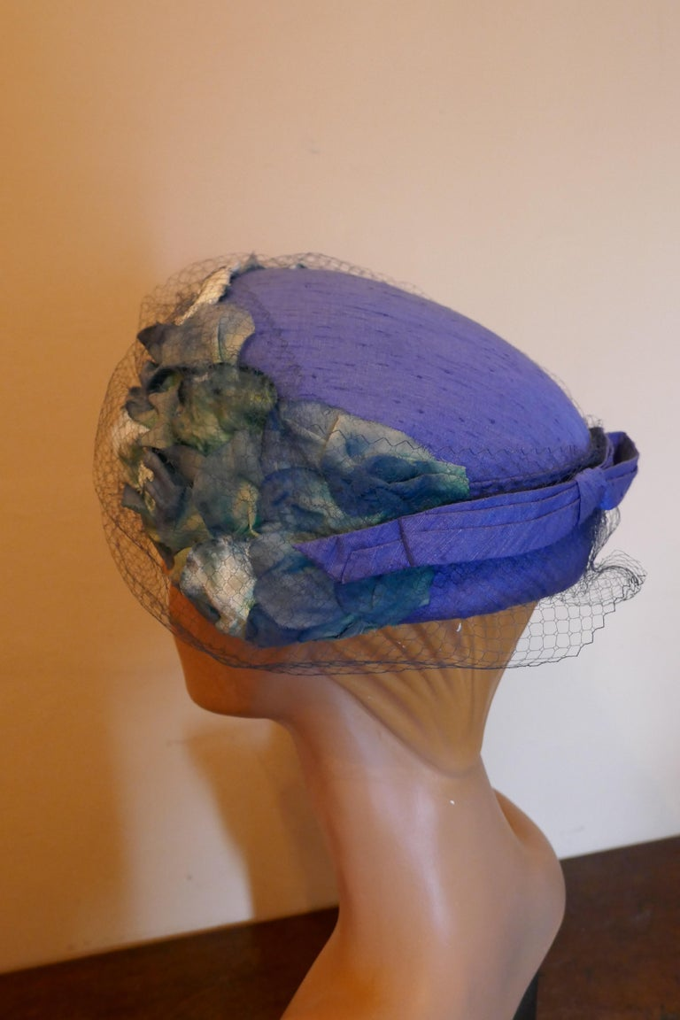 Original 1950s Blue Pill Box Hat, Decorated with Roses and Veil, by Connor In Good Condition For Sale In Chillerton, Isle of Wight