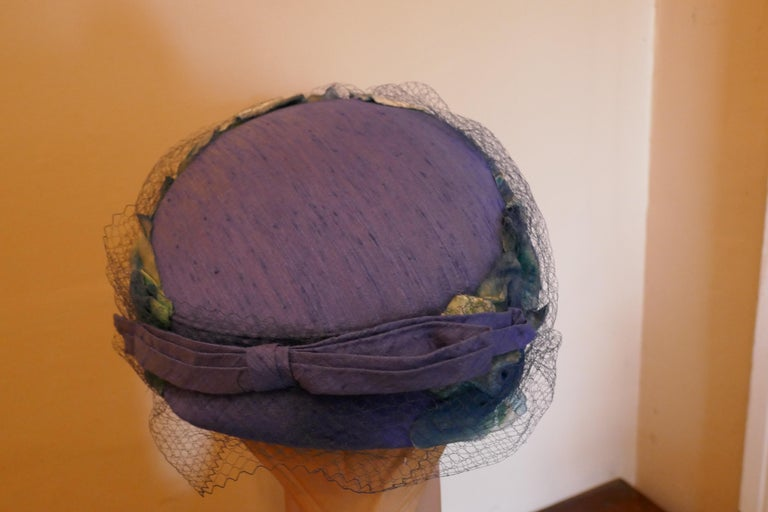 Women's Original 1950s Blue Pill Box Hat, Decorated with Roses and Veil, by Connor For Sale
