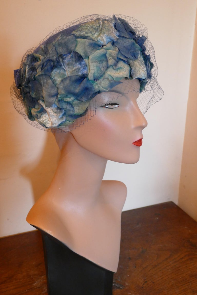 Original 1950s Blue Pill Box Hat, Decorated with Roses and Veil, by Connor For Sale 1
