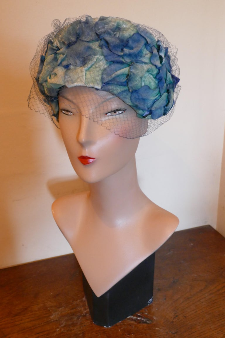 Original 1950s Blue Pill Box Hat, Decorated with Roses and Veil, by Connor For Sale 2