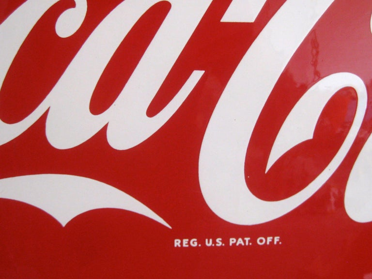 20th Century Original 1950s Coca-Cola Coke Porcelain Store Advertising Button Sign For Sale