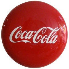 Original 1950s Coca-Cola Coke Porcelain Store Advertising Button Sign