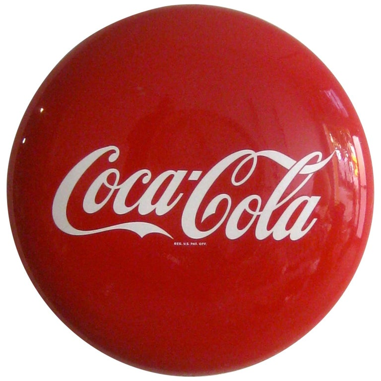 Original 1950s Coca-Cola Coke Porcelain Store Advertising Button Sign For Sale