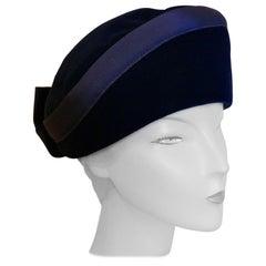 Original 1950s Deep Blue Plush Velvet Pill Box Hat