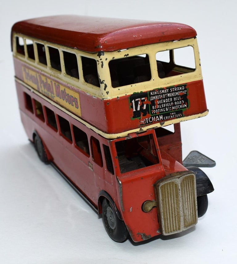 Original 1950s Double Decker London Toy Bus by Triang In Good Condition For Sale In Devon, England