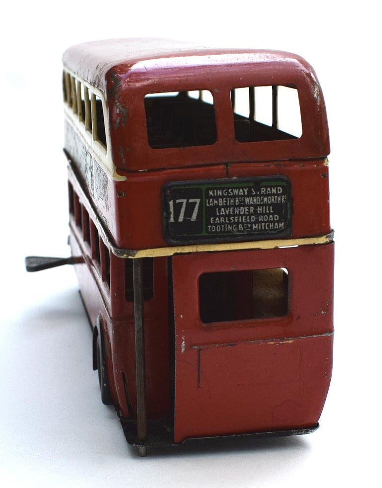 Tin Original 1950s Double Decker London Toy Bus by Triang For Sale