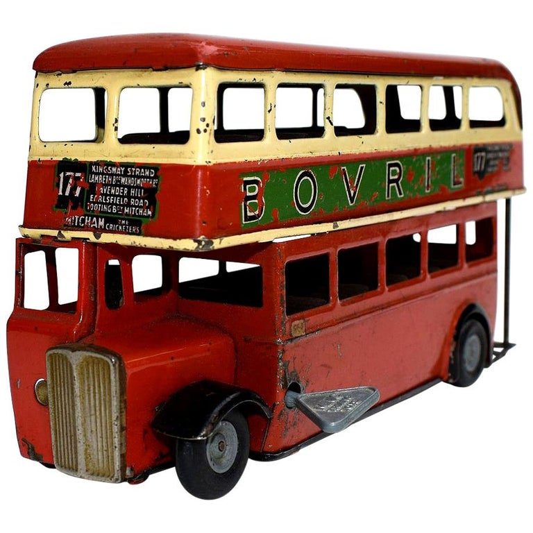 Original 1950s Double Decker London Toy Bus by Triang For Sale
