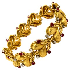 Original 1950's Mario Buccellati Ruby Diamond Yellow White Gold Heart Bracelet
