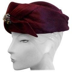 Original 1950s Maroon Felt and Velvet Hat BY Connor