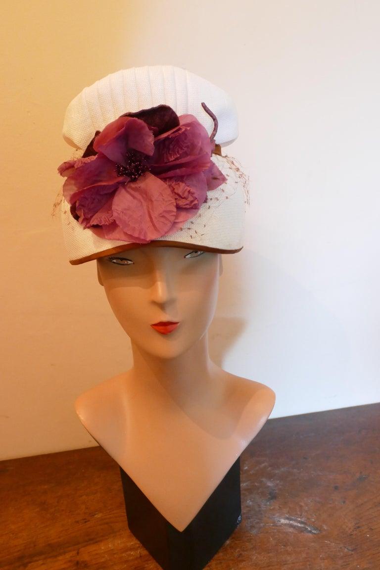 Brown Original 1950s Pill Box Hat by Condo Model For Sale
