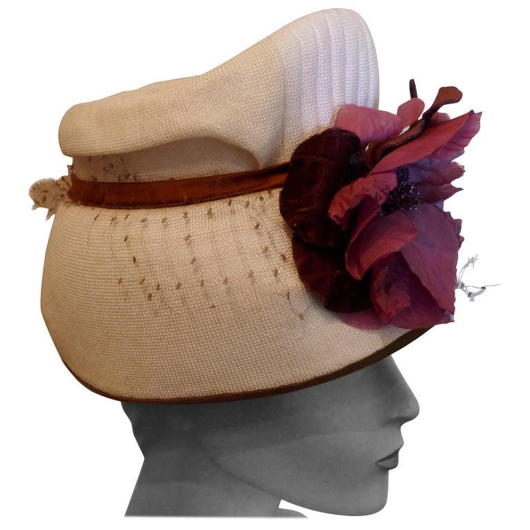 Original 1950s Pill Box Hat by Condo Model For Sale