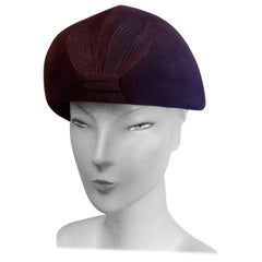 Original 1950s Purple Fur Felt Pill Box Hat,