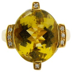 Original 1950s Yellow Beryl Champaigne Diamond Crown Shaped Cocktail Ring
