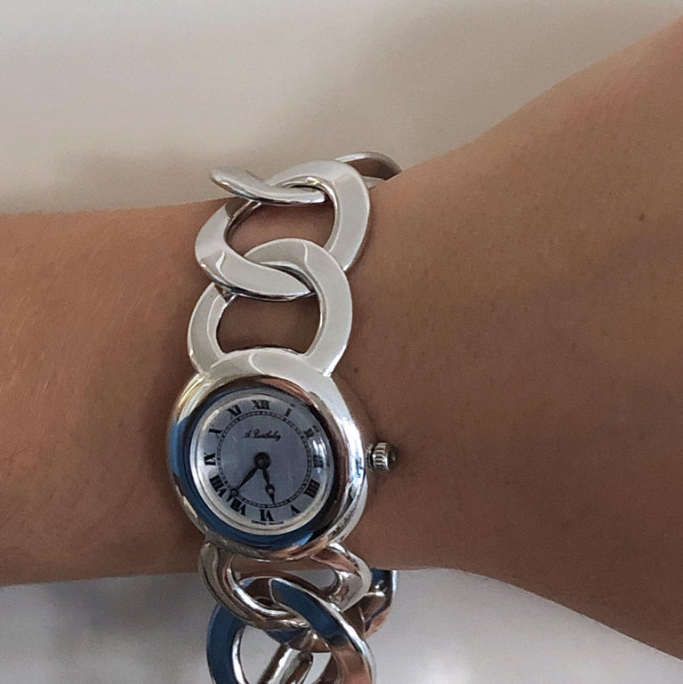 Original 1960s Alexis Barthelay Manual-Winding Movement Solid Silver Watch For Sale 6