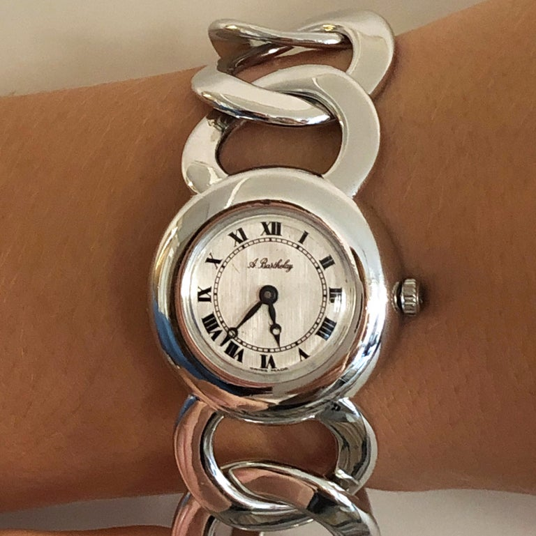 Modern Original 1960s Alexis Barthelay Manual-Winding Movement Solid Silver Watch For Sale