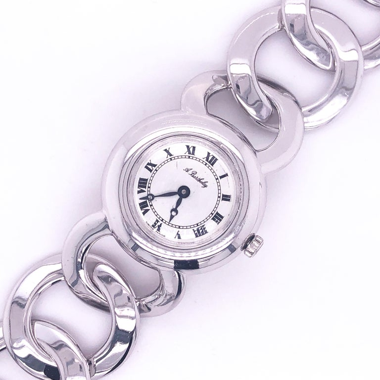 Original 1960s Alexis Barthelay Manual-Winding Movement Solid Silver Watch In Excellent Condition For Sale In Valenza, IT