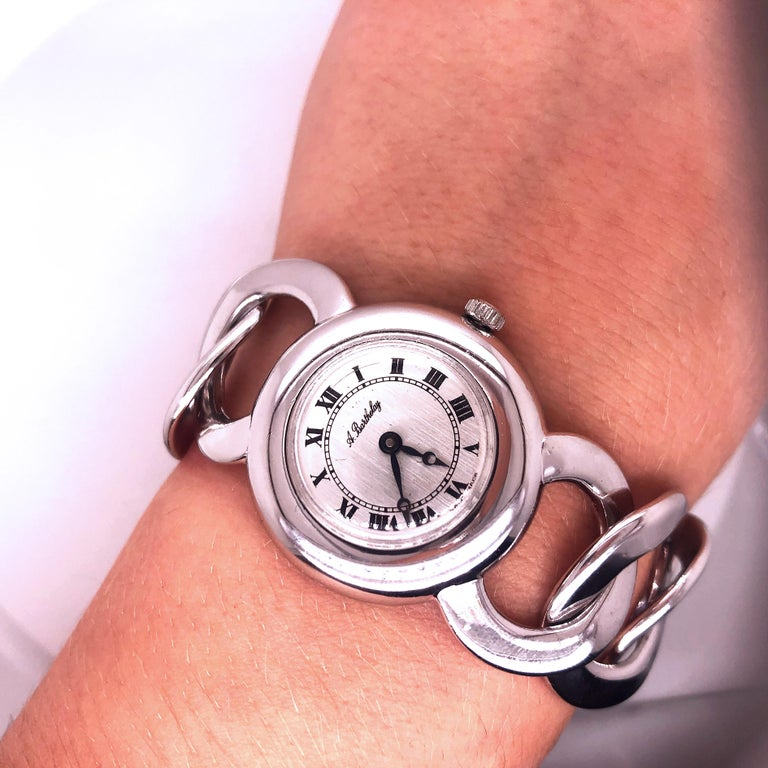 Original 1960s Alexis Barthelay Manual-Winding Movement Solid Silver Watch For Sale 2