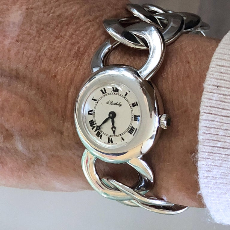 Original 1960s Alexis Barthelay Manual-Winding Movement Solid Silver Watch For Sale 4