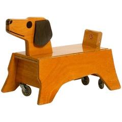 Original 1960s Baby Toddler Vehicle Wooden Dog Made of Plywood by Konrad Keller