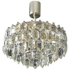 Original 1960s Bakalowits Crystal Chandelier with Silver-Plated Frame